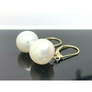 14k Yellow Gold White Pearl Round Dangle Earrings